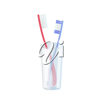 Toothbrushes in plastic glass on white background. Vector illustration