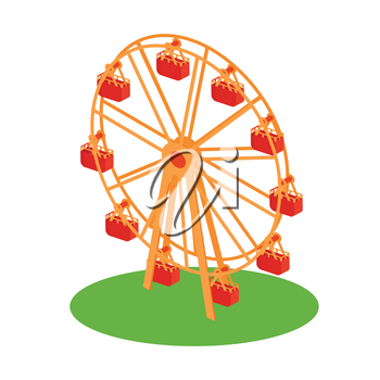 Classical retro Ferris wheel on the grass flat style design illustration. Amusement park attractions conceptual vector icon. Isolated on white background.