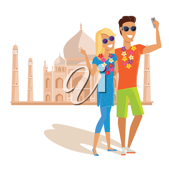 Summer vacation in India concept. Honeymoon in exotic countries vector illustration. Selfies on the background of famous historical monuments. Couple taking pictume near Tadj Mahal.