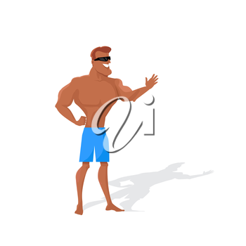 Muscular man character vector. Flat style design. Summer vacation. Physical exercise outdoors. Smiling man in good physical shape dressed in shorts and sunglasses standing on white background.