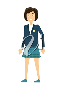 Schoolgirl in blue jacket and skirt. Smiling girl in school uniform. Stand in front. Schoolgirl isolated character. School personage. Vector illustration on white background