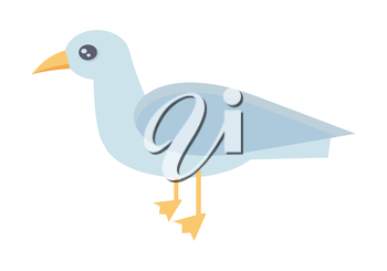 Gull vector illustration in flat style. Bird picture for summer vacation, nature, wild life, concepts, web, app, icons, infographics, logotype design. Isolated on white background