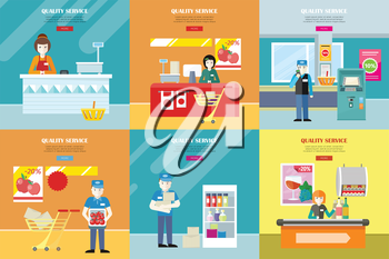 Set of quality service vector banners. Flat design. Cashier seating under counter desk, worker in uniform, security in supermarket interior illustrations for retail store ad, web pages design.