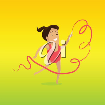Gymnast vector in flat design. Smiling woman character in red gymnastics leotards dancing with ribbon. Sport  competition. Illustration for moving activity, games and hobby concepts