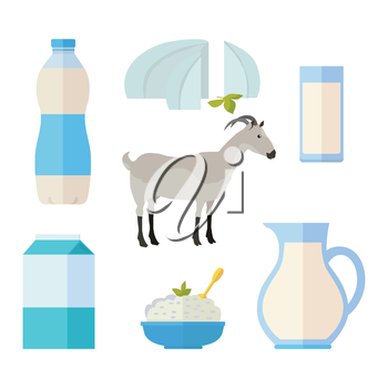 Traditional dairy products from goat s milk. Different dairy products around gray goat on white background. Milk production concept. Dairy icons set. Vector illustration in flat style.