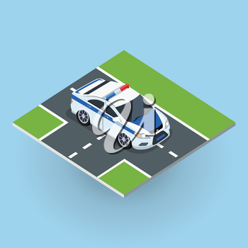 Police car on road vector illustration in isometric projection. NAME3 picture for concepts, web, app, icons, infographics, logotype design. Isolated on white background.