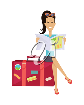 Summer vacation concept. Traveling with baggage illustration. Flat style design. Smiling brunette woman seating on suitcase and looking in road map. Isolated on white background.