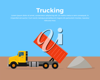 Trucking vector banner. Cargo concept in flat style design. City building. Illustration for cargo companies and services advertising. Transportation of goods and materials by heavy construction tipper