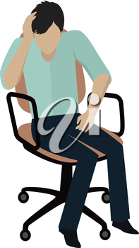 Man in light blue shirt and blue pants sitting on office armchair. Young businessman sitting on chair. Man pensive and worried. Isolated object in flat design on white background. Vector illustration