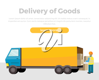 Delivery of goods. Loader unloads the van in flat. Equipment delivery process. Delivery man, delivery icon, free delivery, delivery parcel, service delivery, person profession, courier postman