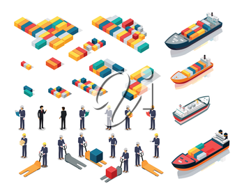 Set of sea port warehouse icons. Isometric projection. Cargo ships, color steel containers, workers in helmets with boxes and hidraulic loaders. For transport, delivery company ad, logo, app design