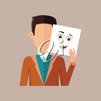 Boy avatar icon. Boy in blue shirt and jacket with a sheet of paper. Sheet of paper with happy emotional smile. People with expression of emotions. Isolated vector illustration on white background.