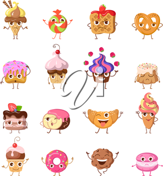 Set of funny dancing sweets. Flat design. Colorful confectionery bake cartoon in different mood smiling, laughing, lost, upset, drowsiness, happy, joyful, angry. For restaurant menu illustrating