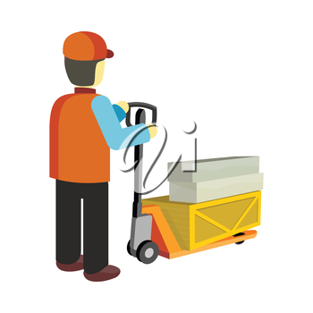 Worker in uniform and helmet with cargo cart. Warehouse and forklift truck, truck and jack, cargo cart, delivery and lift, equipment industry, industrial loader. Delivery and shipping cargo