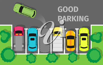 Good parking. Car parked in appropriate way. Intelligent polite, courteous, civil car driver. Parking zone conceptual web banner. Respectful driver in parking lot or car park. Vector in flat style