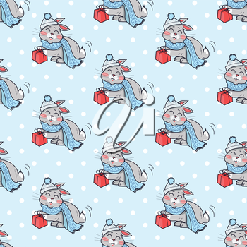 Little rabbit with present box seamless pattern. Endless texture with funny bunny wearing blue scarf. Wallpaper design with cartoon character. Small hare in flat style design. Vector illustration