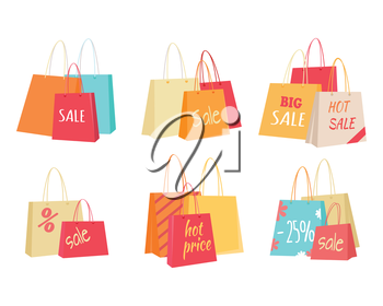Big sale in clothing store. Color shopping paper bags with sales advertising text flat vector illustrations set isolated on white background. Black friday. For seasonal discounts and promotions