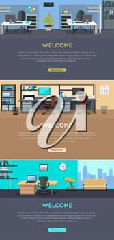 Set of workplace and working break horizontal web banners in flat style. Bright office interior design with modern furniture, plants, racks with documents and ceiling light. Comfortable place for work