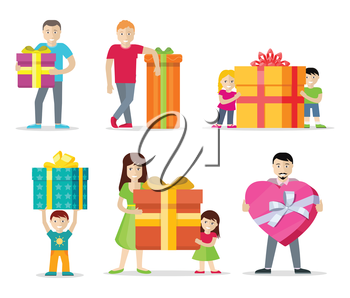 Happy peoples with presents. Smiling man, woman, kids, family standing with big gift box decorated ribbon and bow flat vectors isolated on white background. Birthday, valentine, christmas celebrating