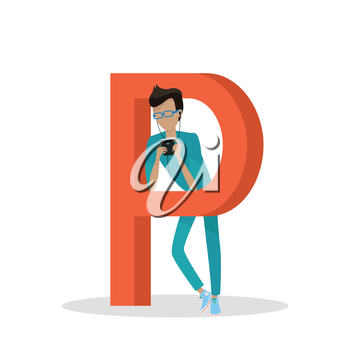 Gadget alphabet. Letter - P. Man with smartphone standing near letter. Modern youth with electronic gadgets. Social media network connection. Simple colored letter and people with electronic devices
