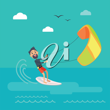 Kitesurfing vector concept. Joyful man holding kite and sliding on sea surface on surf flat vector. Leisure on summer vacation. Resting on tropical seacoast. For kiteboarding club, travel company ad