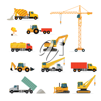 Set of heavy construction machines. Flat design vector. Collection of cargo trucks, tractors, cranes, concrete mixers, excavator, loader. For construction theme illustrating, building companies ad
