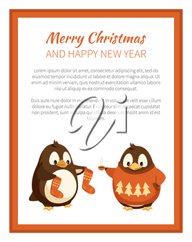 Merry Christmas penguin wearing warm sweater with pine tree print poster vector. Animal holding celebration socks, winter holidays with text sample