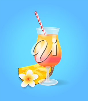 Cocktail in glass with straw, pineapple and exotic flower, isolated refreshing drink. Summertime poster with exotic beverage and vanilla blossom isolated