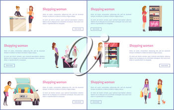 Shopping women in shops, clothes stores vector. Beauty makeup stand with cosmetics products, jewelry department and food grocery, fridge with veggies