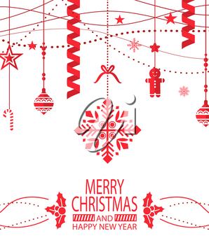 Merry Christmas and happy New Year greeting poster vector. Mistletoe and gingerbread man, confetti and star shaped toys, decoration of home xmas symbols