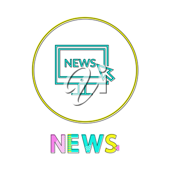 News vector illustration in linear outline style. Monitor screen with cursor sign gadget concept and web design simple line icon in circle contour