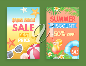 Summer discount best price set of posters vector. Proposition and promotion, reduction of price. Rubber ball and sunglasses, cocktail and flowers