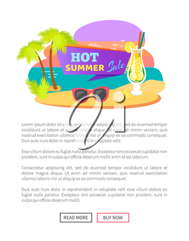 Hot summer sale, summertime sticker with cocktail and sunglasses at sea cost web online poster. Vector price tag with tropical drink at coastline, palms