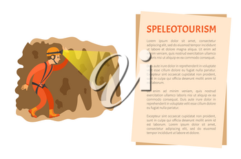 Man wearing helmet with light going in cave, male insurance going in antre, side view of person in orange suit, extreme or dangerous tourism vector