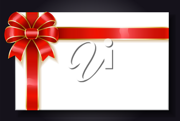 Blank banner with empty space for text or message announcement. Isolated card with red ribbon bow tied in knot. Copy space for placement of information. Present or gift card decor, vector in flat