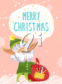 Merry christmas designed caption on greeting postcard. Elf stand in traditional green costume and greet people. Character with red sack of presents for children. Vector illustration in flat style