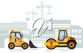 Cityscape and working machinery vector. City building and construction equipment, tractor and excavator cranes and lifting machine flat style work