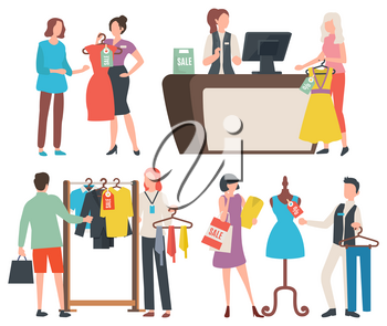 Shopping people vector, isolated woman holding dress, cashier at counter with client. Mannequin and man, tshirts, on hangers and customers with bags