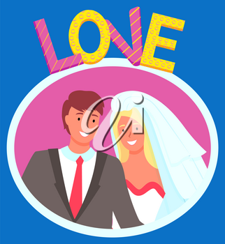 Bride and groom vector, isolated man and woman smiling on photo flat style characters on special day. Boyfriend and girlfriend wearing costume and veil, celebration of wedding. Photozone balloons