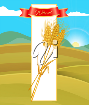 Wheat cereal poster and nature field with mountains and sunny sky . Ground soil for agricultural farm crop growth. Ribbon with text and block vector