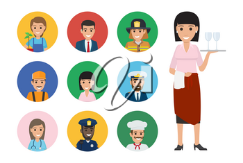 Vector of mariner and whiskered cook, woman doctor, builder and manager, policeman and lifesaver, gardener with plant. Waiter with tray.