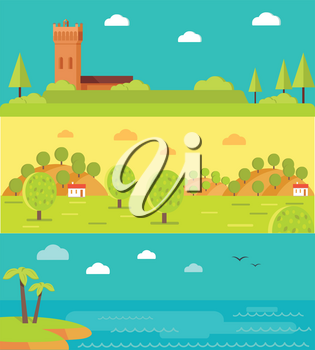Summer vacation touristic landscapes set. Italian medieval castle tower, spanish farm olive garden, tropical seacoast with palms horizontal vector banners. For travel company, touristic attractions