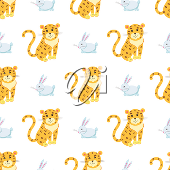 Seamless pattern of jaguar and rabbit vector flat cartoon sticker or icon outlined with dotted line isolated on white. Wild and domestic animals cartoon illustration for prints on fabric, wrapping paper