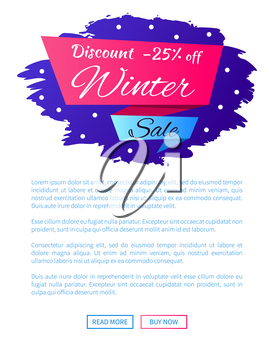 Discount - 25 winter sale web poster label design on blue background with snowflakes, vector illustration web buttons on landing page, place for text