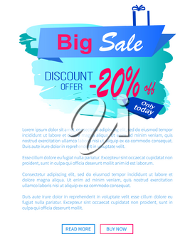 Big sale discount offer 2017 -20 vector landing page design with place for your text informing about reduction of prices, shopping label with presents