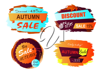 Autumn sale new offer icons isolated on white background. Vector illustration with colorful signs with discount promotion on golden labels