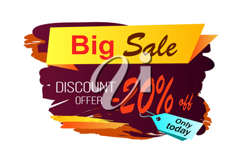 Big sale discount offer -20 off, only today, image with yellow stripe and title, price tag and background vector illustration isolated on white