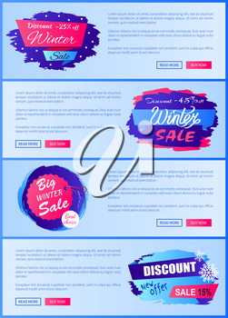 Winter sale web posters design with buttons read more and buy now, online landing pages with discounts labels decorated by snowflakes and brush strokes
