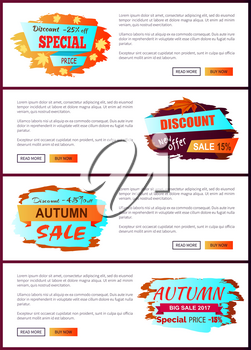 Special offer autumn sale posters set with promo advertising labels informing about discounts on web banners with place for text vector illustrations