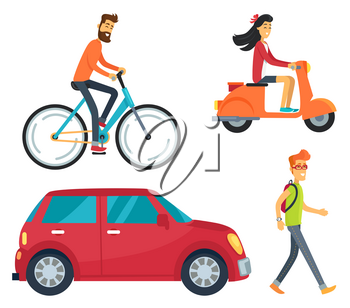 Icons of man on bike, girl with scooter, vehicle and pedestrian with backpack. Vector illustration with transport and people isolated on white background